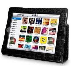 Black Croc Skin Leather Wallet Case For Apple iPad 2 + Film