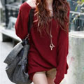 Red Bat-Wing Sleeves Sweater T655r
