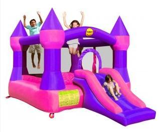 Duplay Happy Hop Bounce 'n' Slide Pink Turret Castle 12ft Bouncy Castle